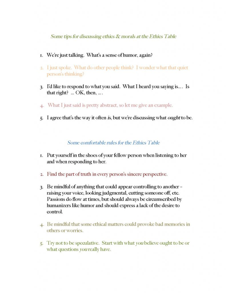 A list of ground rules and tips for discussing ethics and morals