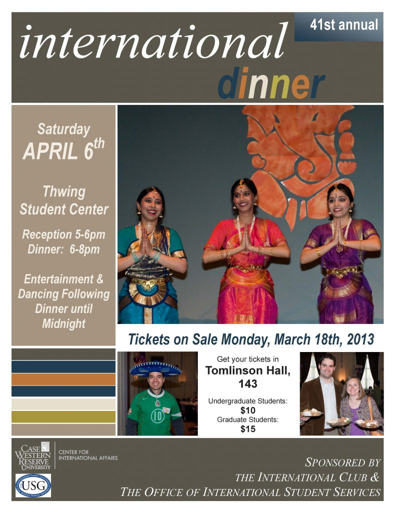 flier for CWRU International Dinner