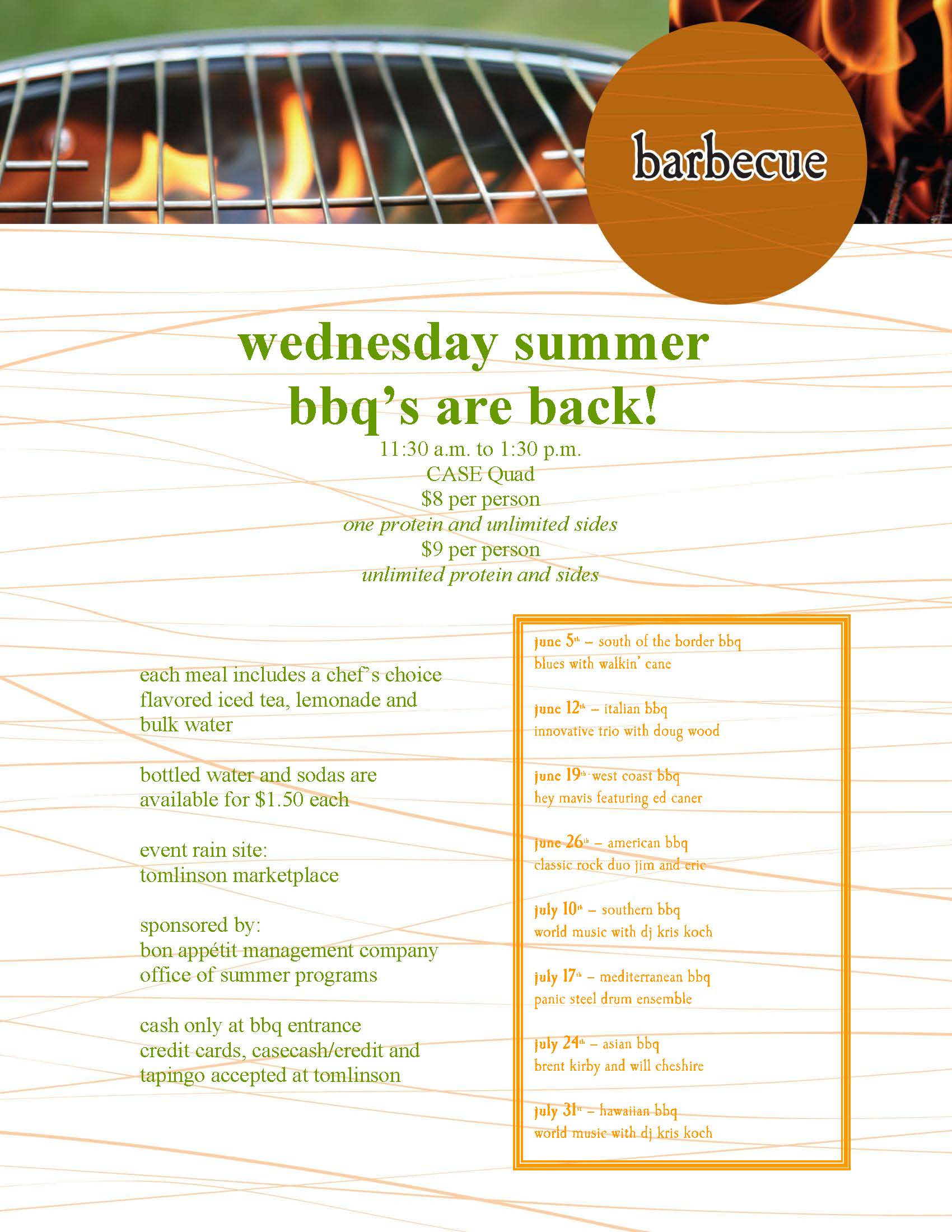 Wednesday s bbq on the quad features italian menu local music for The local italian menu