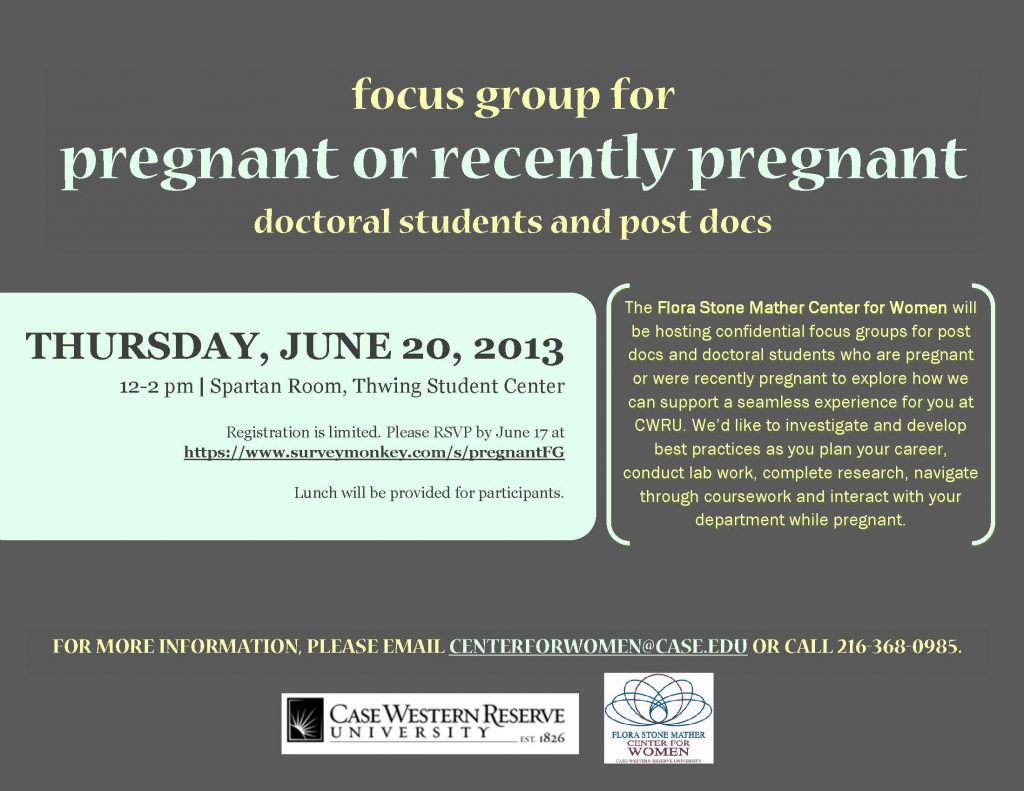 Flier for focus group for pregnant students at CWRU