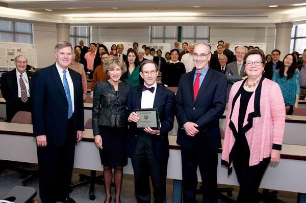 Provost Baeslack, President Snyder, Sanford Markowitz, Vice President for Research Robert Miller and School of Medicine Dean Pamela B. Davis.