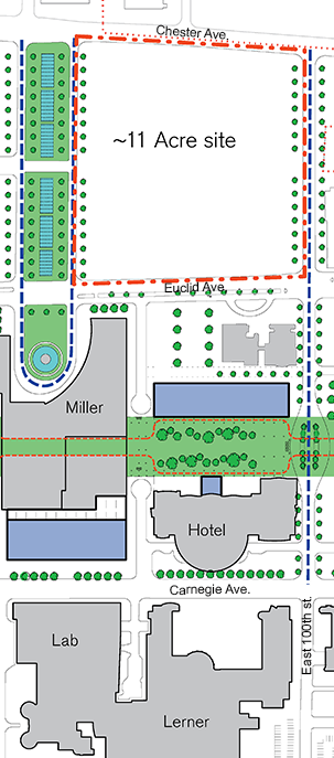 A map showing the site of the new medical education building