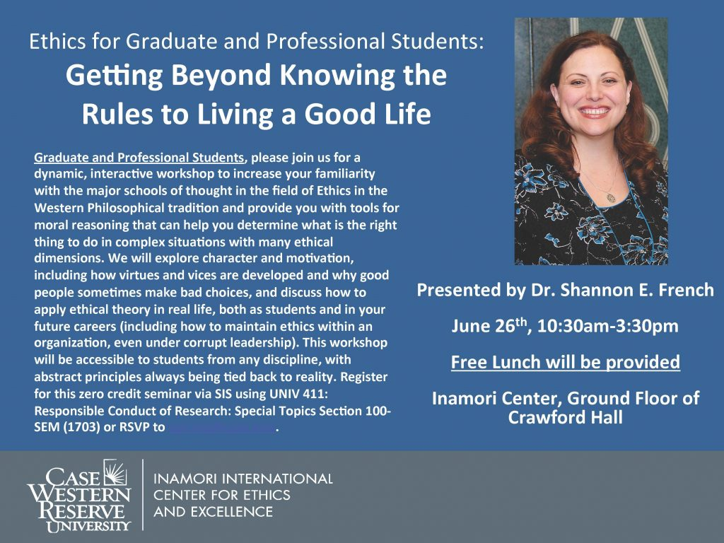 flier for ethics workshop at CWRU