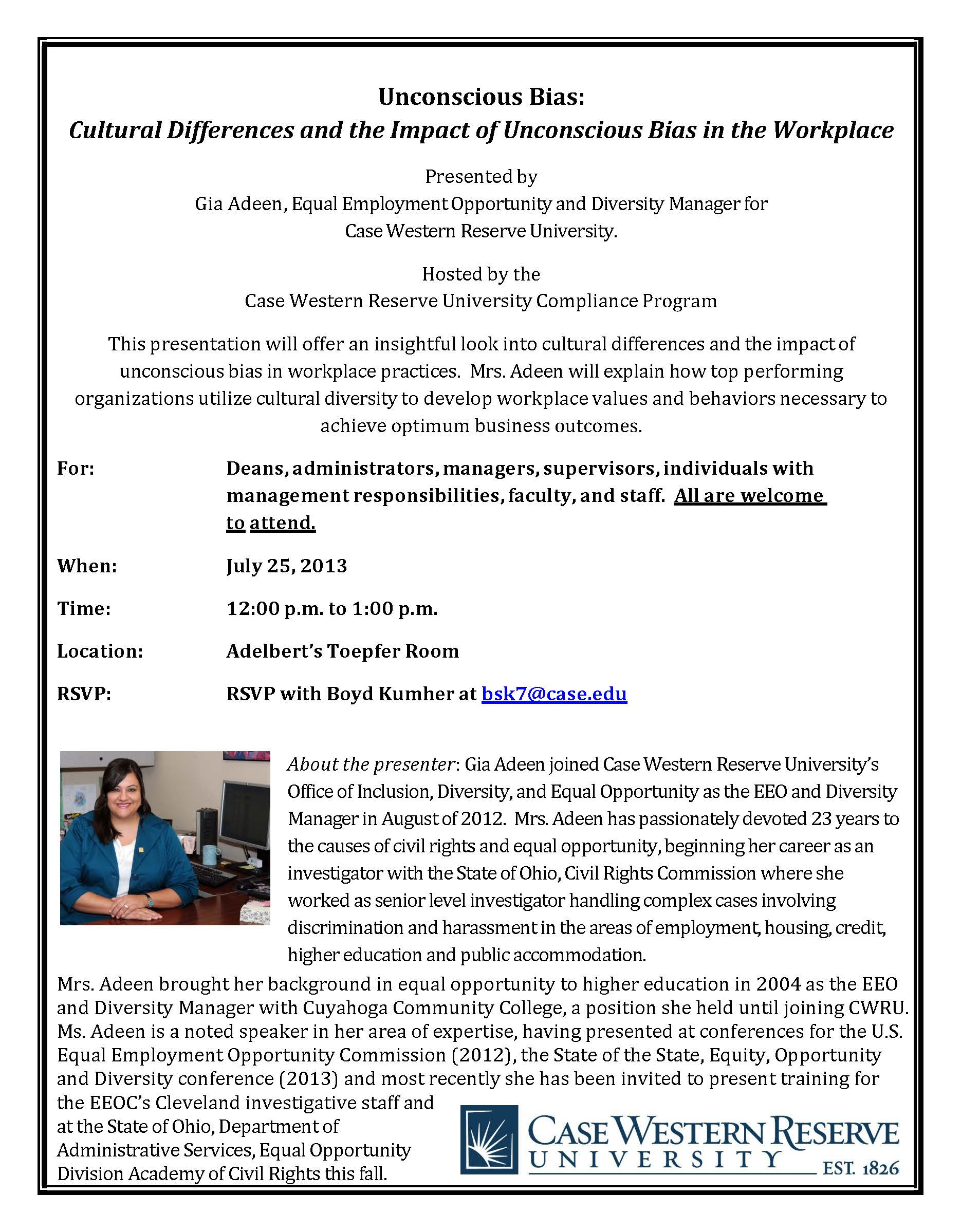flier for Unconscious Bias in the Workplace presentation at CWRU