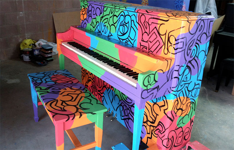 Piano decorated by members of University Marketing & Communications
