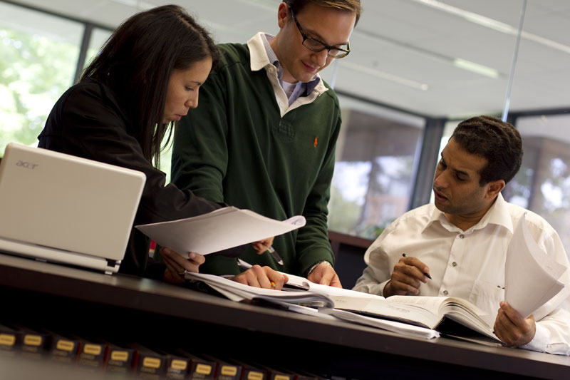 CWRU law students in law library