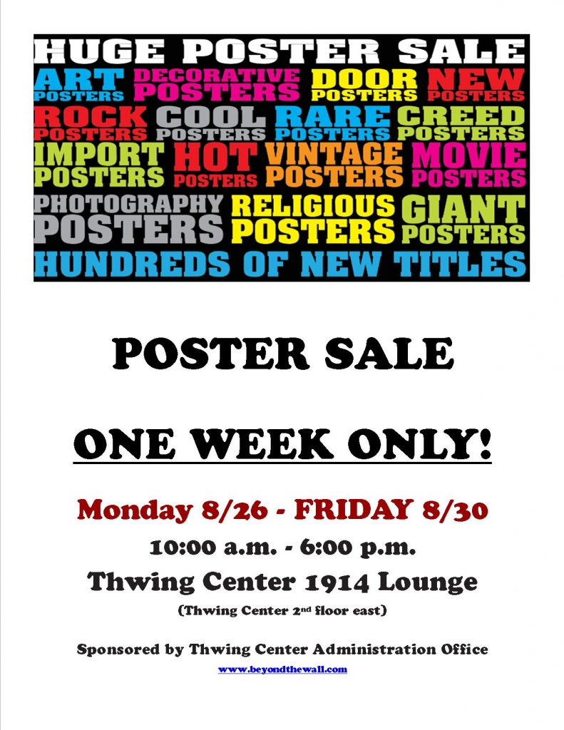 Thwing Center poster sale flier