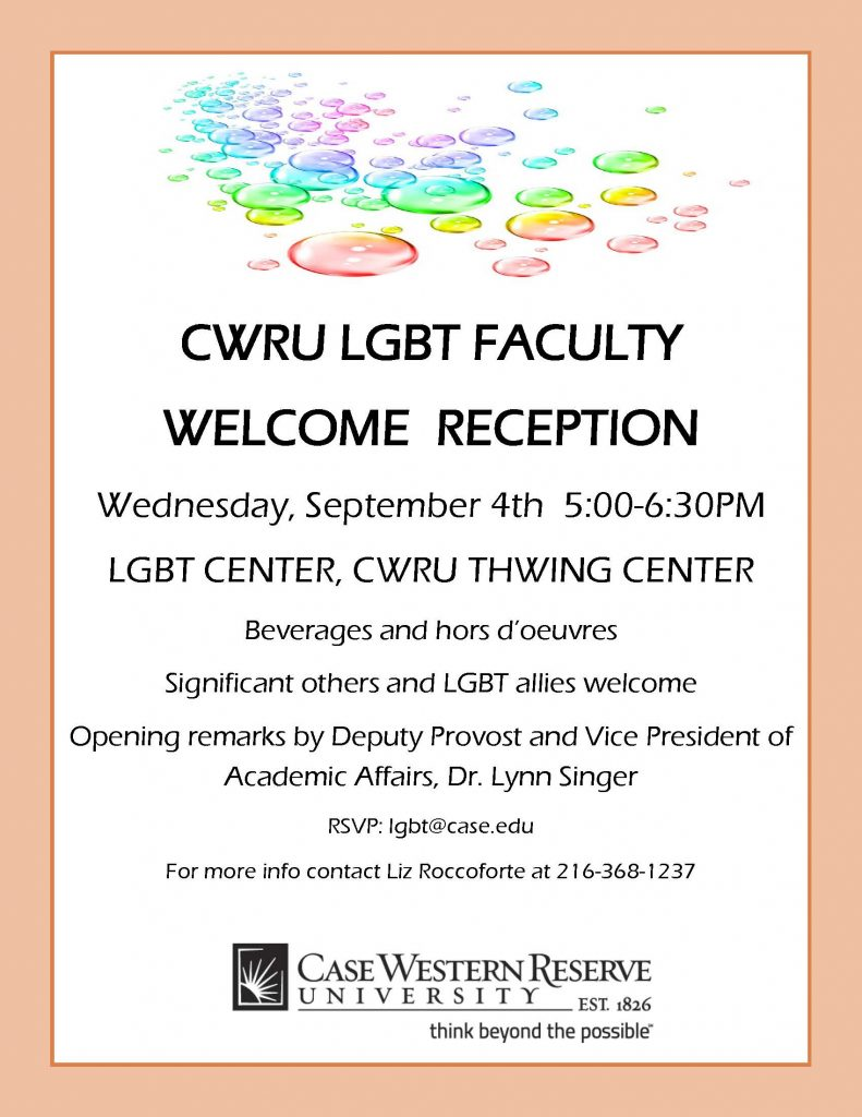 CWRU LGBT Faculty Welcome flier