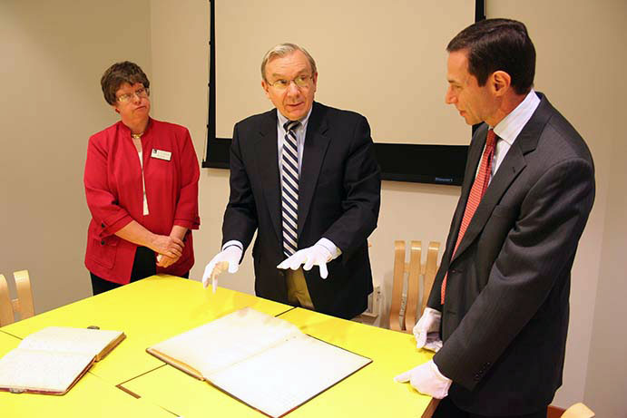 CWRU's Jill Tatem, Gary Previts and Arnold Hirshon with the Ernst & Young archives