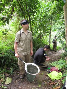 Riley Tedrow using net in Rwanda