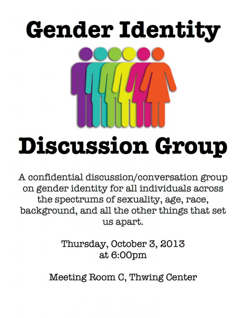 flier on Gender Identity Discussion Group at CWRU