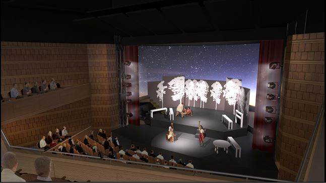 The proscenium at The Milton and Tamar Maltz Performing Arts Center at The Temple – Tifereth Israel