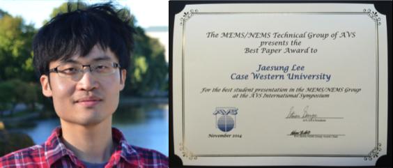 headshot of Jaesung Lee next to his award
