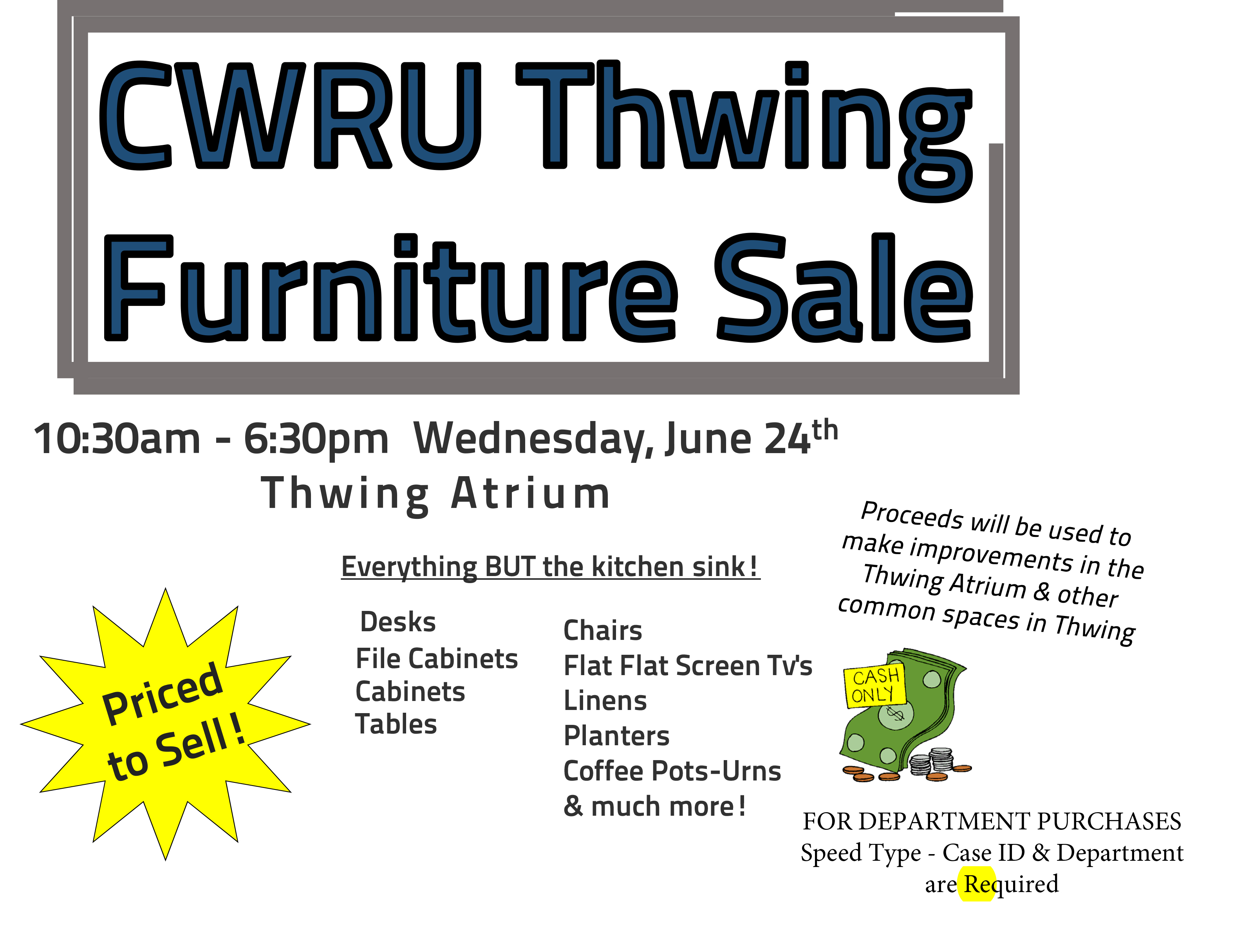 furniture sale to be held in thwing atrium june 24 the daily