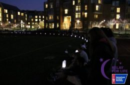 Luminaria bags lit up around track at Relay for Life