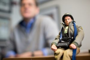 Action figure of Ernier Pyle on Jim Sheeler's desk