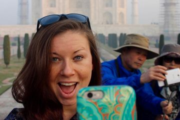 CWRU female student taking a selfie while studying abroad