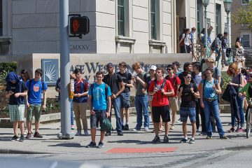 Students crossing Euclid Rd.