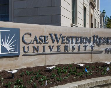 Case Western Reserve University sign