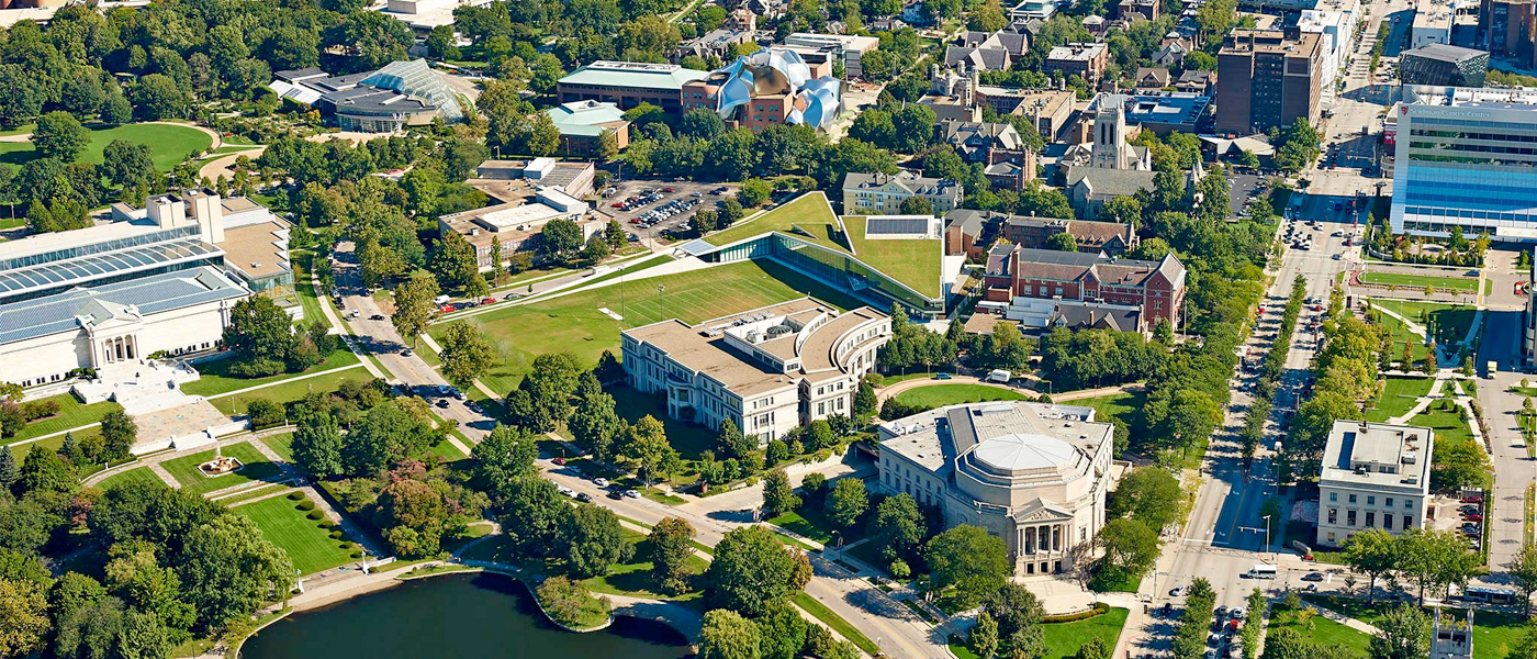 aerial view of CWRU and University Circle