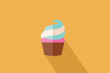 graphic of a cupcake on orange background