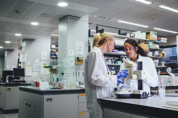 Two women working in the lab