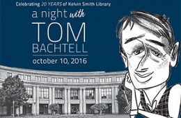 Invitation with a caricature of Tom Bachtell in the foreground and drawing of Kelvin Smith Library in background