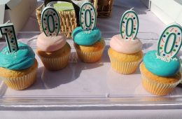 """Five candles with alternating pink and blue icing with candles that write out """"10000"""" on top"""