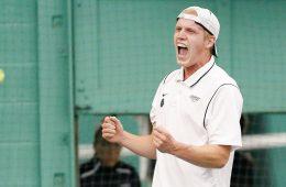 CJ Krimbill celebrates at tennis match