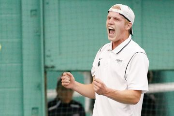CJ Krimbill celebrates at tennis match