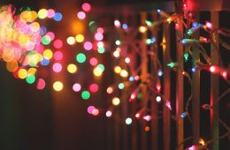 Holiday lights on fence