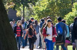 Students walking across quad