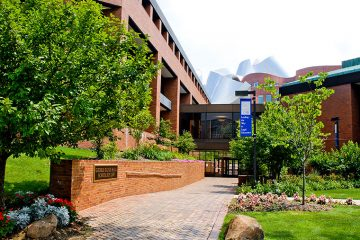 Exterior of the law school's Gund Hall