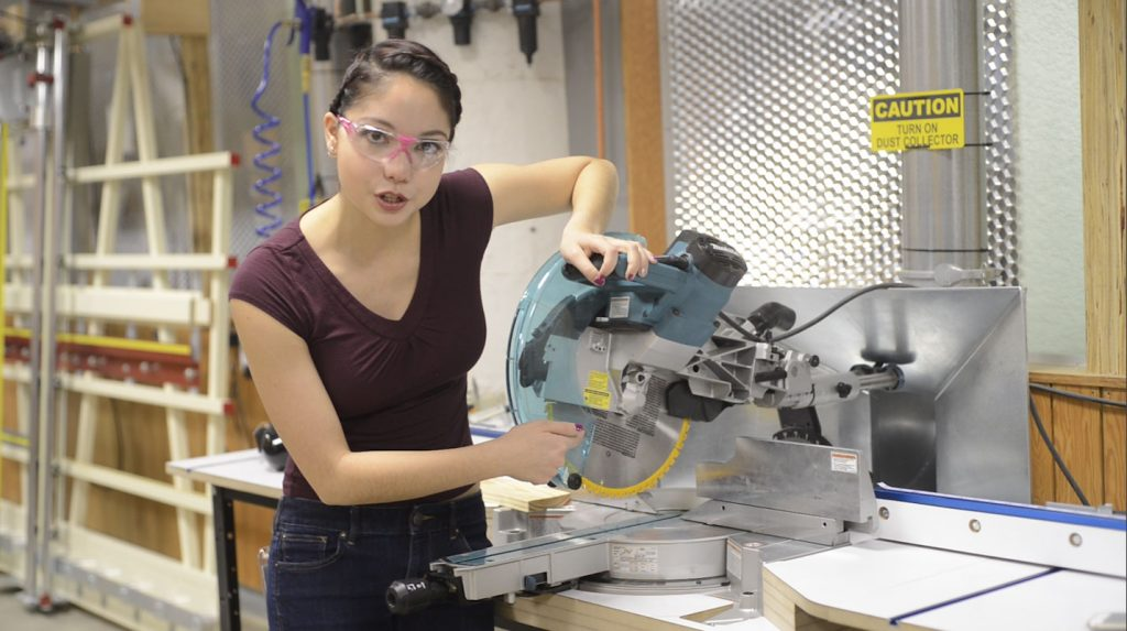Xyla Foxlin demonstrates how to use the miter saw