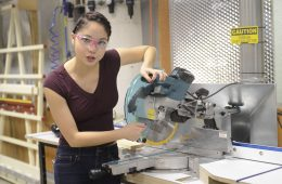 """Xyla Foxlin demonstrates miter saw for """"Beauty and the Bolt"""" series"""