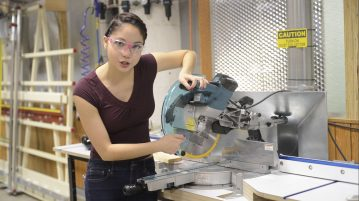 "Xyla Foxlin demonstrates miter saw for ""Beauty and the Bolt"" series"