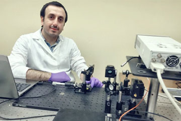Mustafa Unal working in the lab