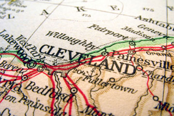 Close up on map of Cleveland