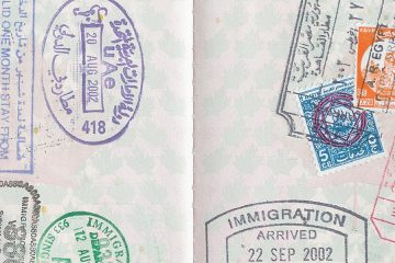 Photo of stamps on passport