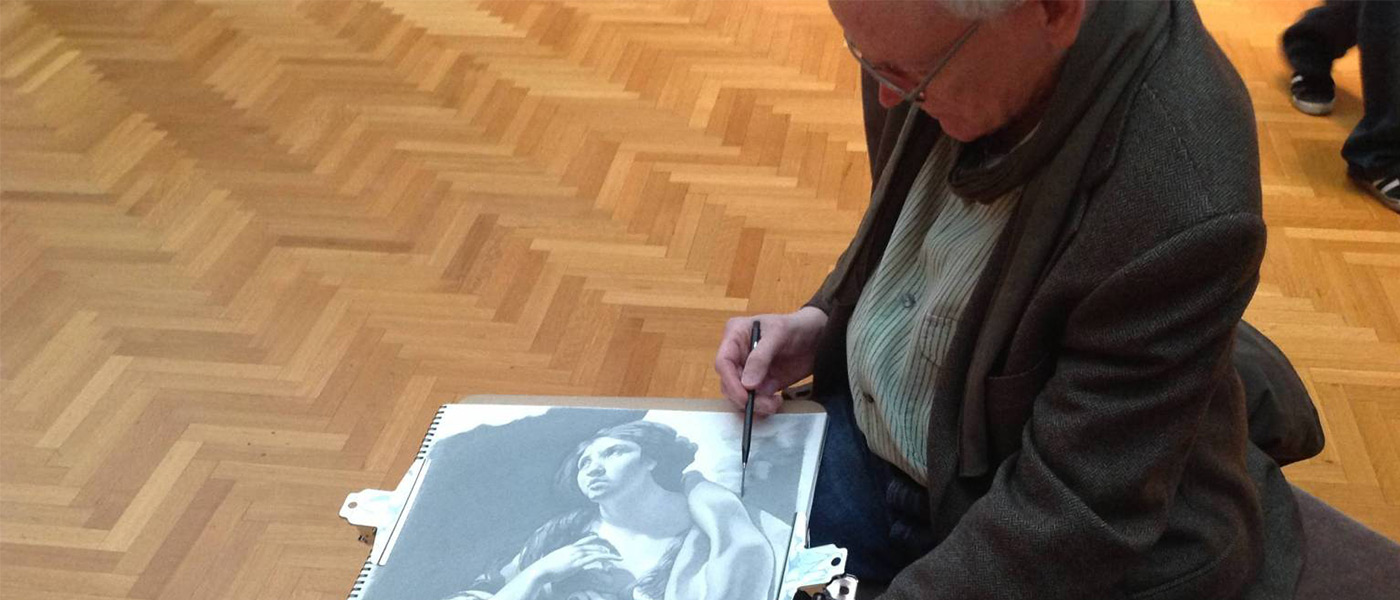 Photo of Ron Wilson drawing