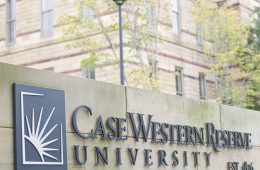 CWRU sign in front of Adelbert Hall