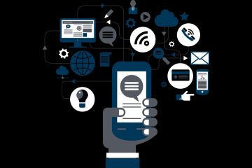 illustration of hand holding a cell phone and social media icons surrounding it