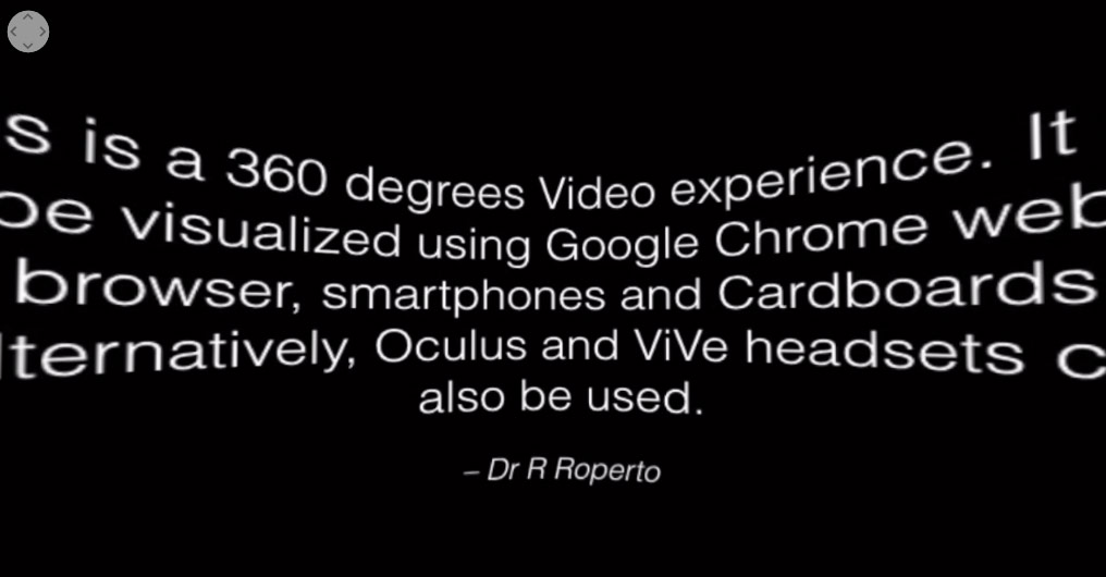 Screenshot from Renarto Roperto's 360-degree video versions of his lectures. This slide features instructions for the course