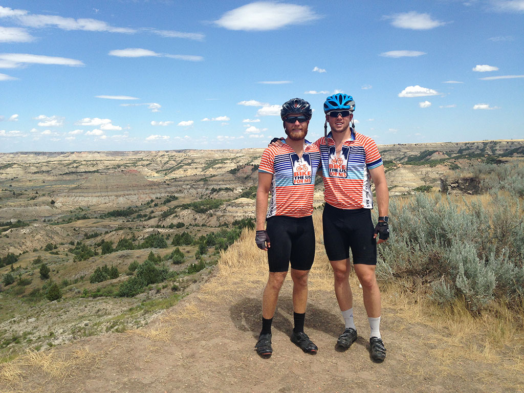Tony Damiano and Eric Eldred pose for photo on cross-country bike trip