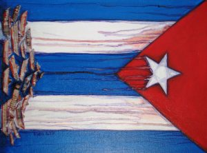 Piece of artwork by Eldis Rodriguez Baez that incorporates the Cuban flag