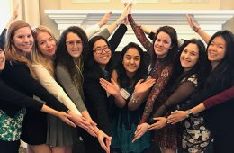Students in Kappa Alpha Theta pose for photo