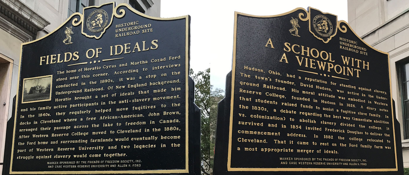 Photo compilation of both sides of the Underground Railroad Historical Marker