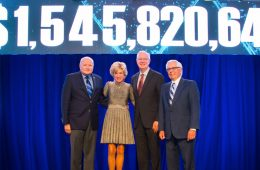 At Thursday night's Blue Block Party, President Barbara R. Snyder announced the university surpassed its $1.5 billion campaign goal, alongside (from left) Board of Trustees Chair Jim Wyant, trustee Tim Callahan and Forward Thinking Campaign Chair Frank Linsalata.