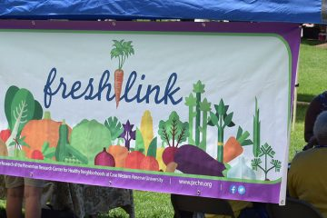 Photo of a FreshLink banner at a farmers' market