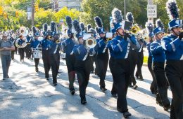 Photo of CWRU band playing in parade